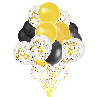 Luftballons Schwarz (Konfetti Luftballon Set Geburtstag Feier Hochzeit Party Ballons Schwarz Gold)