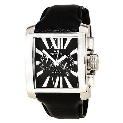 Tw Steel Mens Ce3006 Ceo Goliath 42Mm Chronograph Black Dial Black Leather