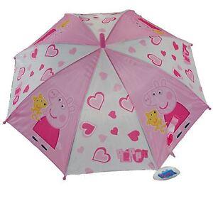 Peppa Pig Pink Umbrella High Quality Easy Holding Push Button Kids Rainy Days