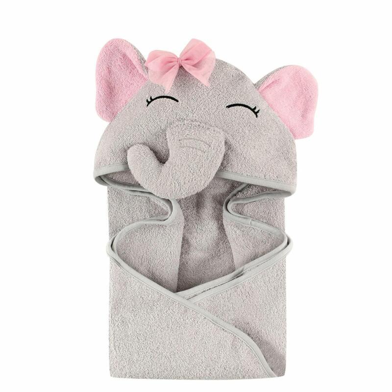 Hudson Baby Unisex Animal Face Hooded Towel, Elephant, Unico