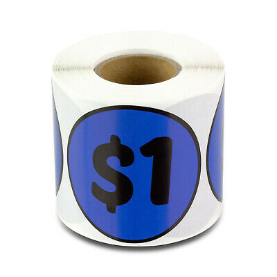 1 Dollars Stickers Garage Sale Yard Retail Flea Market Labels 2 Round 2pk