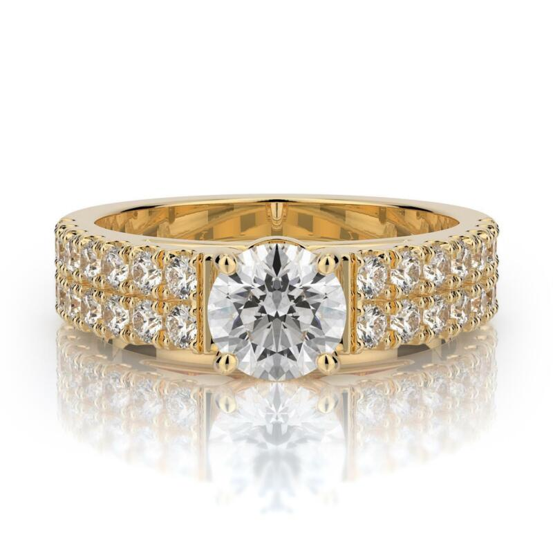 1.75 Ct F Si1 Certified Round Diamond Solitaire Engagement Ring 14k Yellow Gold