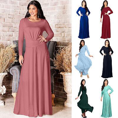 KOH KOH Long Sleeve Flowy Empire Waist Winter Fall Modest Maxi Dress Gown Abaya