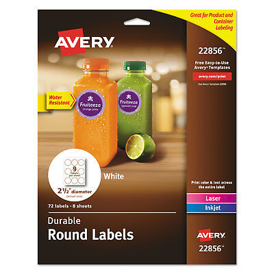Avery Durable White Round Id Labels 2 12 Dia. White 72pk 22856
