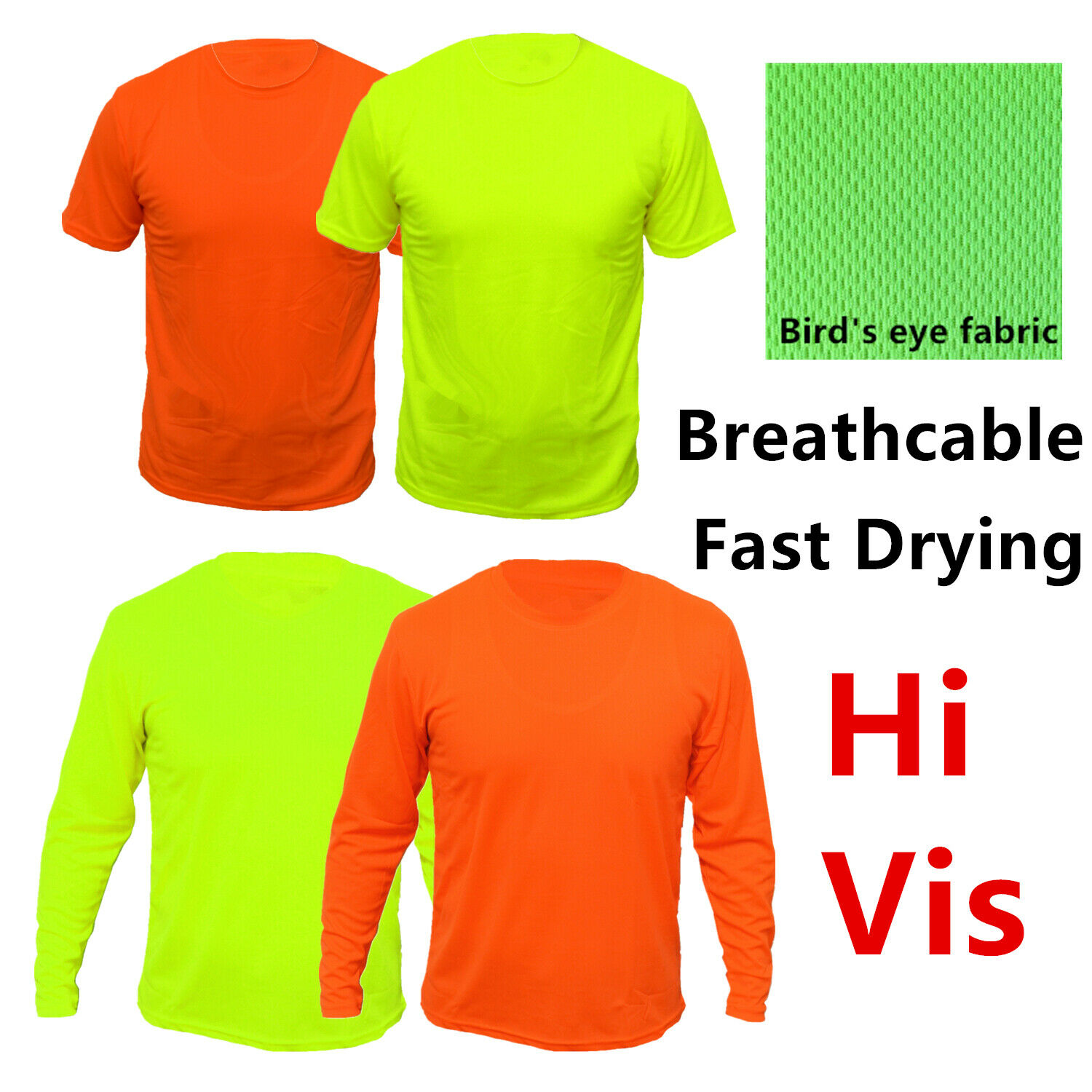 Hi Vis T Shirts High Visibility Safety Work Neon Green Sports Wear Long Sleeve