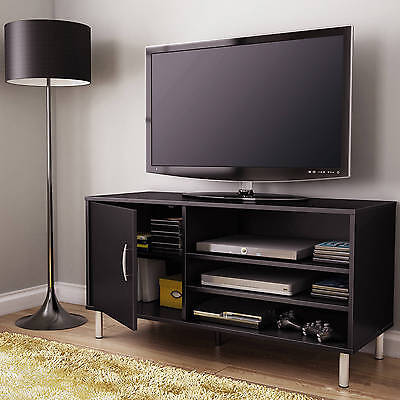 Black 3 Open Shelf TV Stand Cabinet Home Living Room Entertainment Furniture Den (Open Tv Cabinet)