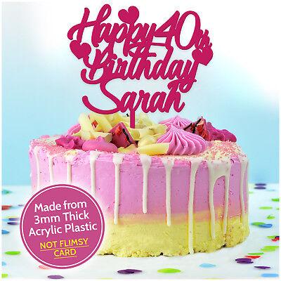 sed Happy Birthday Cake Topper ANY AGE Decoration ANY NAME  (Happy Birthday 40th)
