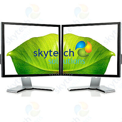 "2x 17"" Cheap Monitor VGA TFT LCD Office Laptop Gaming Computer PC Dual Monitor B"