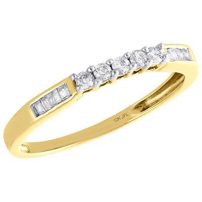 10K Yellow Gold Round & Baguette Diamond Wedding Band 5 Stone Womens Ring 1/6 (6 Diamond Baguette Stone Ring)
