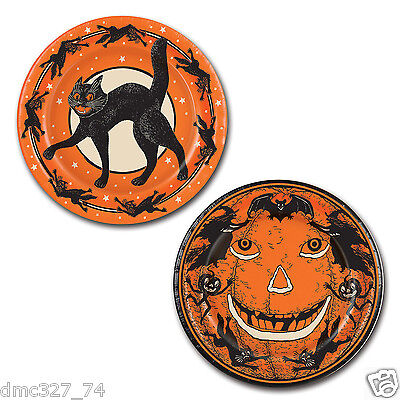 HALLOWEEN Party PLATES Vintage SCRATCH CAT JACK O LANTERN Beistle Reproduction