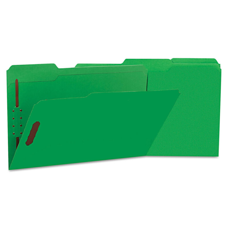 UNIVERSAL Deluxe Reinforced Top Tab Folders 2 Fasteners 1/3 Tab Legal Green 50