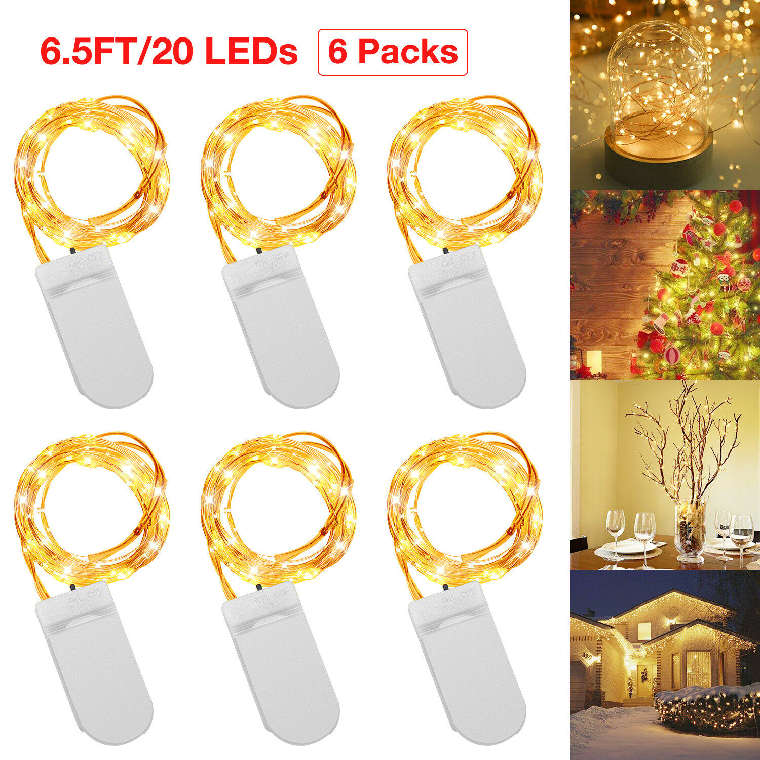 Купить 6PCS 2M 20 LED Copper Battery Operated Wire String Fairy Lights Wedding Decor US