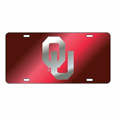 OU University of Oklahoma Sooners Red-Silver Mirrored License Plate / Car Tag  - Oklahoma Sooners License Plate