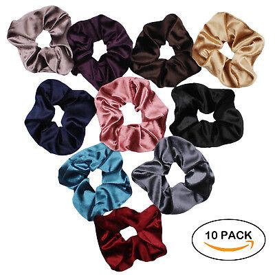 Velvet Scrunchies For Hair - 10-Pack Velvet Hair Scrunchie Elastics Hair Ties