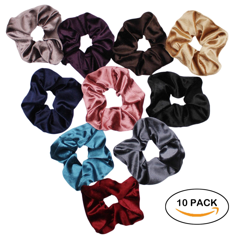 Velvet Scrunchies For Hair - 10-Pack Velvet Hair Scrunchie B