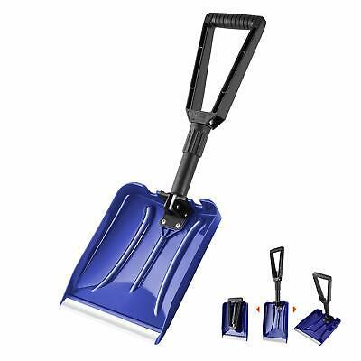 ORIENTOOLS Folding Snow Shovel with D-Grip Handle Durable Aluminum Edge Blade