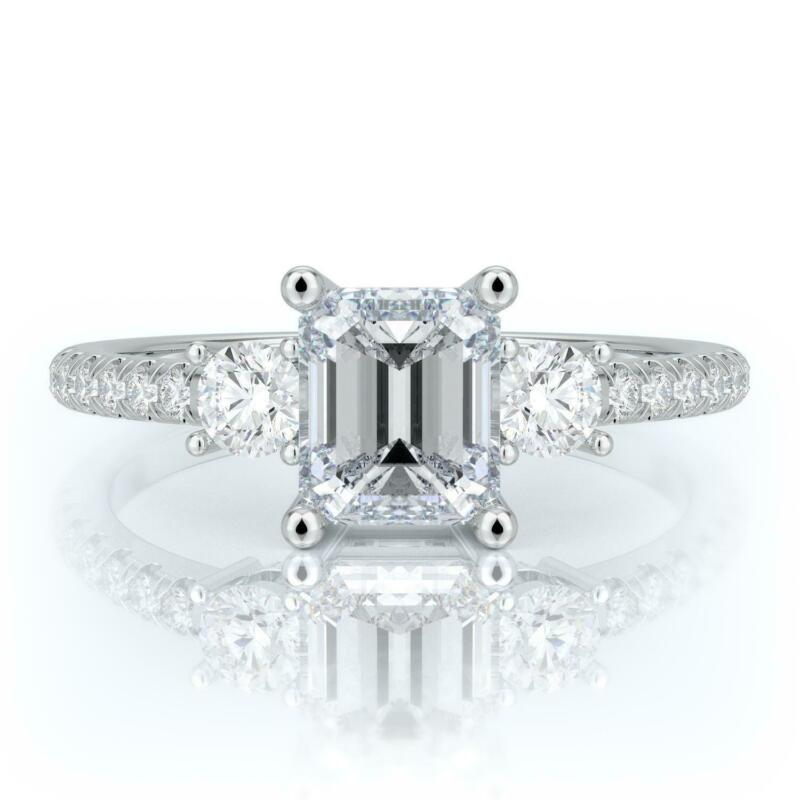 1.75 Ct G Si2 Emerald Cut Diamond Engagement Ring Set In 14k White Gold
