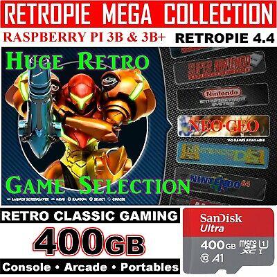 400GB Retropie 4.4 MicroSD Card Raspberry Pi 3  3B+ BEST CLASSIC SYSTEMS 11,000+