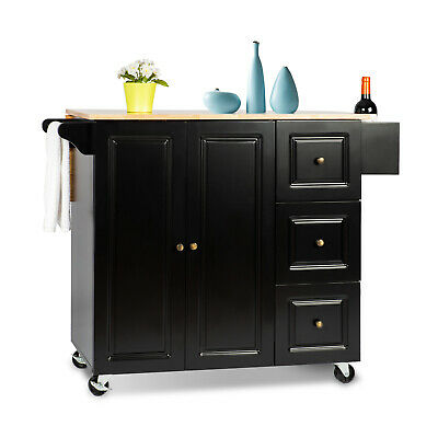YOUNIS Black Kitchen Island Cart on Wheels Expandable 100% Rubberwood Top