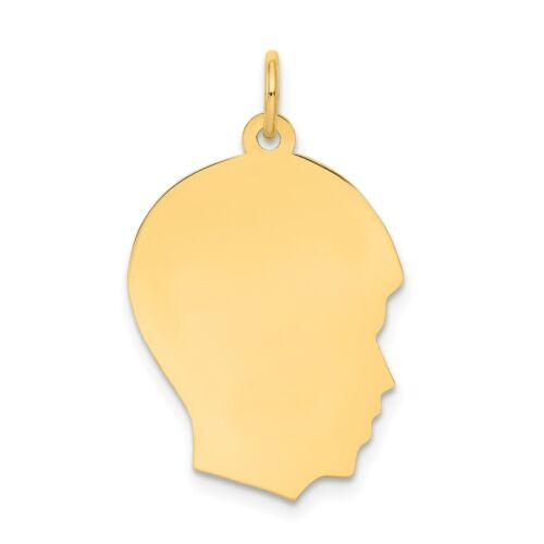Best Quality Free Gift Box 14k White Gold Plain Medium Facing Left Engravable Girl Charm