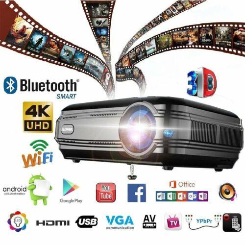 4K WiFI Android 6.0 LED HD 1080P Projektor 3D Beamer Heimkino HDMI USB TV