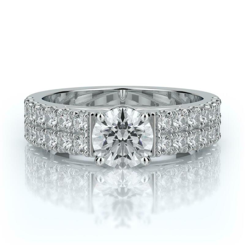 2.00 Ct F Si1 Certified Round Diamond Solitaire Engagement Ring 14k White Gold
