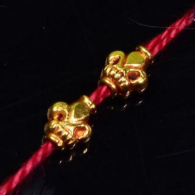 4.8mmx5.5mm 18k Solid Yellow Gold Handmade Fleur De Lis Spacer Beads PAIR