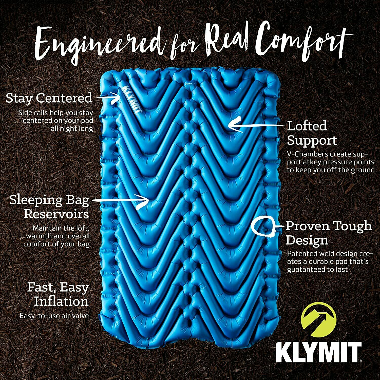 Klymit Double V Sleeping Pad Camping Sleeping Pad, New