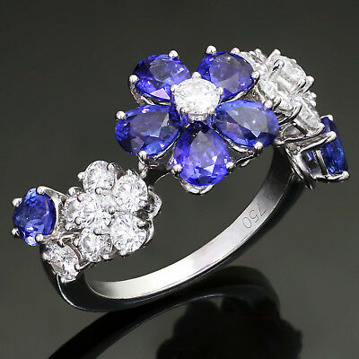 VAN CLEEF & ARPELS Folie Des Pres Diamond Blue Sapphire White Gold Flower Ring
