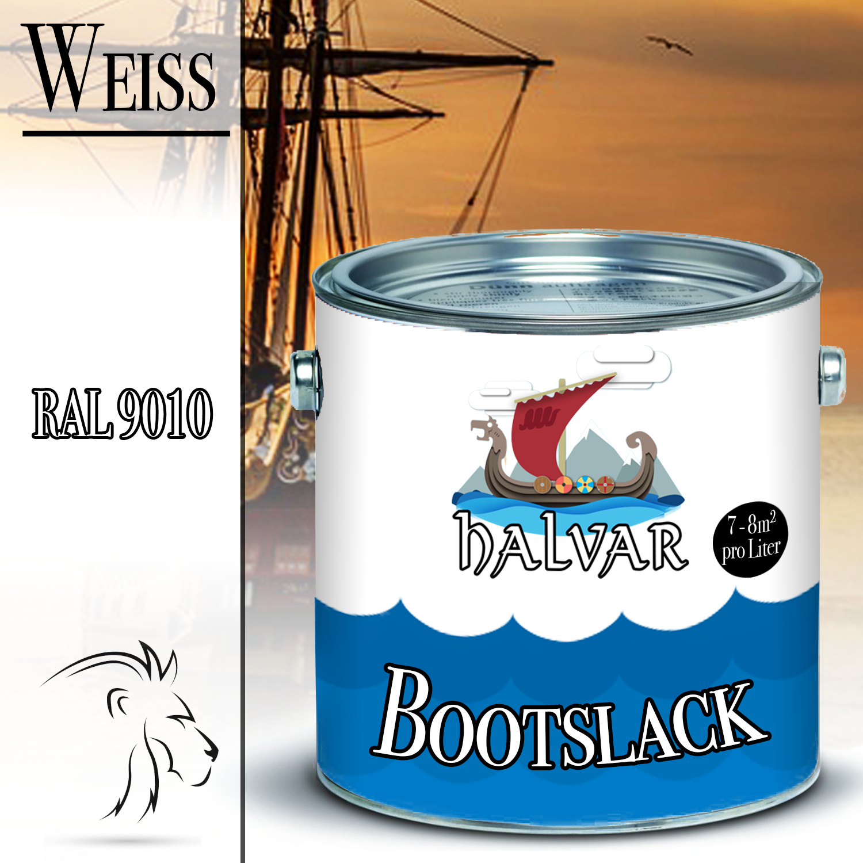 Halvar PU Bootslack Bootsfarbe Yachtlack Metall GFK Holz FARBAUSWAHL Klarlack Weiß (RAL 9010)