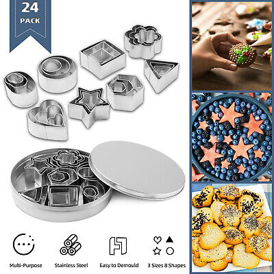 24x Biscuit Cutters Cookie Cutter Set Stainless Steel Baking Pastry Slicers Mold