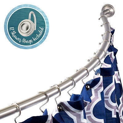 Stainless Steel Curved Shower Rod 42″ – 63″ and Round Hook Rings, Nickel Bath