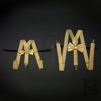 Suspender and Bow Tie Soft Gold Father Son Set Combo for Adults Men Toddler - Gold Suspenders And Bowtie