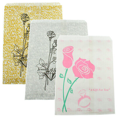 Pink Silver & Gold Rose Paper Gift Bags Jewelry Merchandise Shopping 100 Pcs - Gold Gift Bag