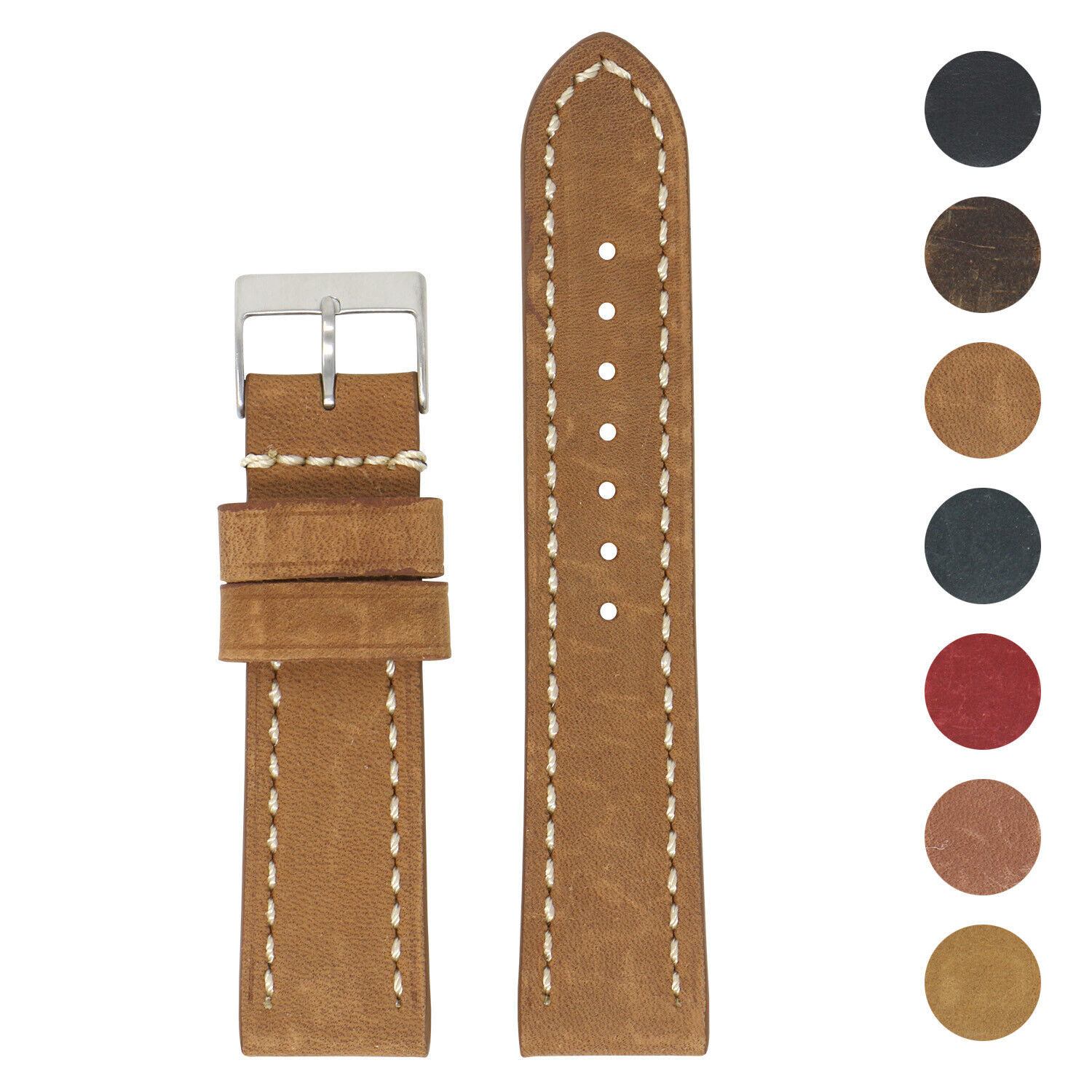 StrapsCo Vintage Leather Watch Band Strap Short Standard Extra Long