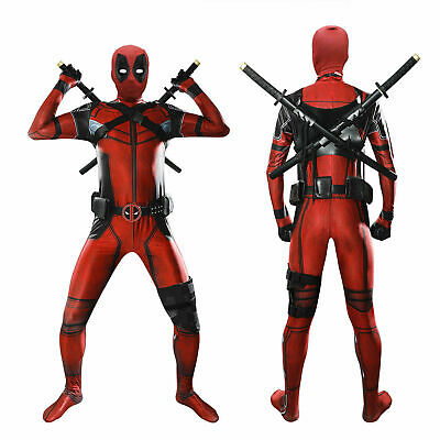 Deadpool Costume Adult Kids Deadpool Bodysuit Cosplay Costume Head Mask Belt US