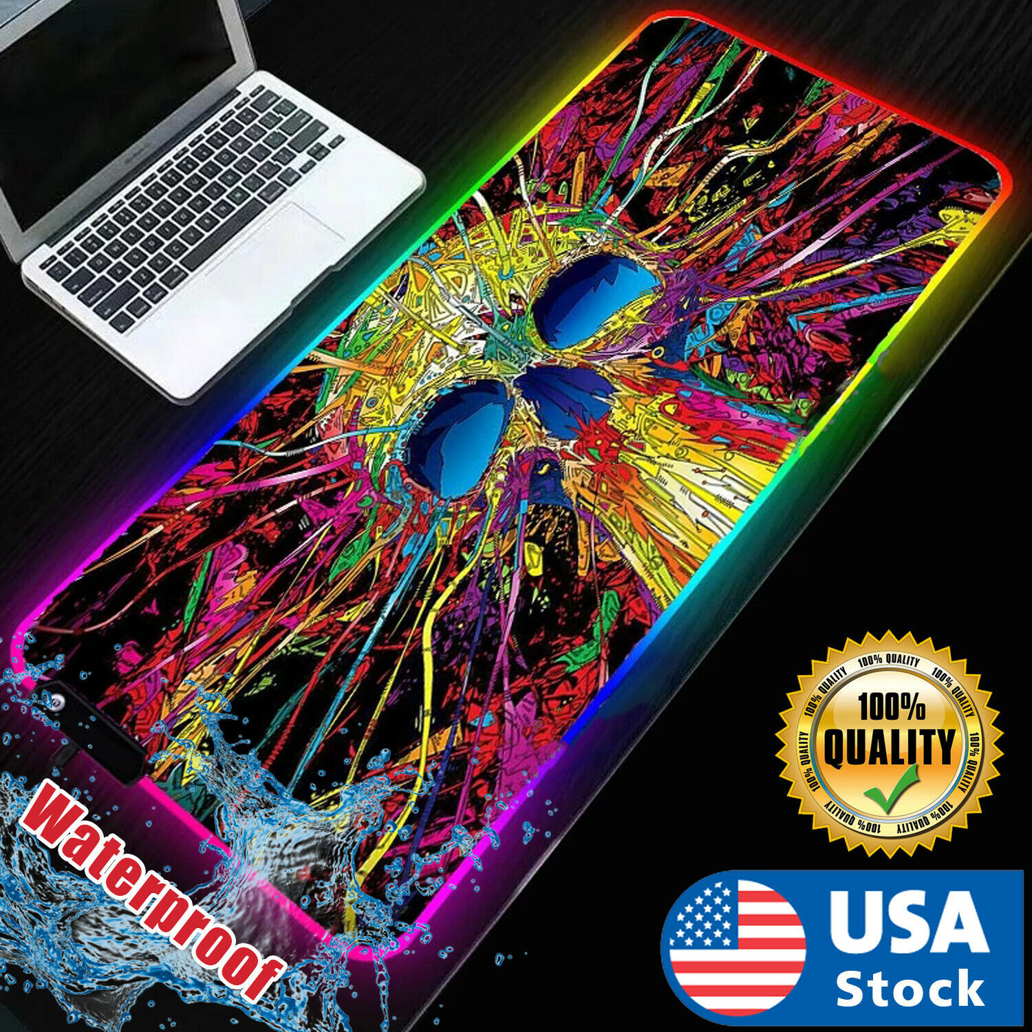 """USA RGB LED Extra Large Soft Gaming Mouse Pad Oversized Glowing 31.5×12"""" Computers/Tablets & Networking"""