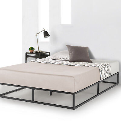 Metal Platform Bed Frame Wooden Slat Support Mattress Foundation Queen Dorm