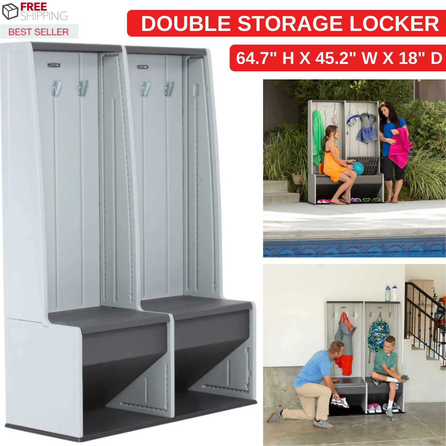 Double Grey Plastic Storage Locker With Two Benches Six Hook