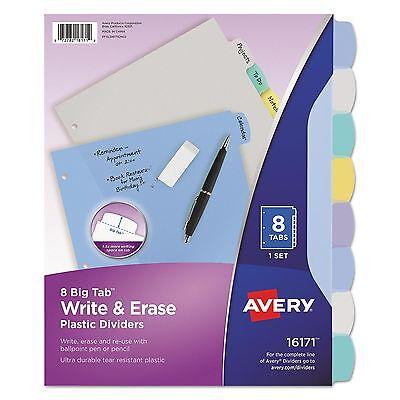 Avery Big Tab Multi Color Write Erase 8 Write-on Plastic Dividers Letter 16171