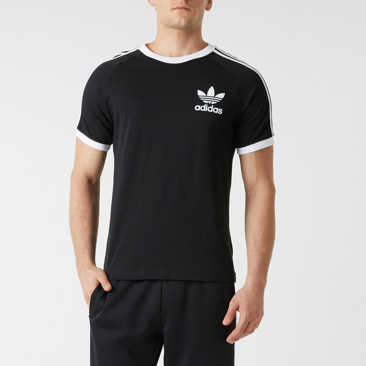 Details about adidas Originals Mens California Trefoil T Shirts 3 Stripes Crew Neck Sports Tee