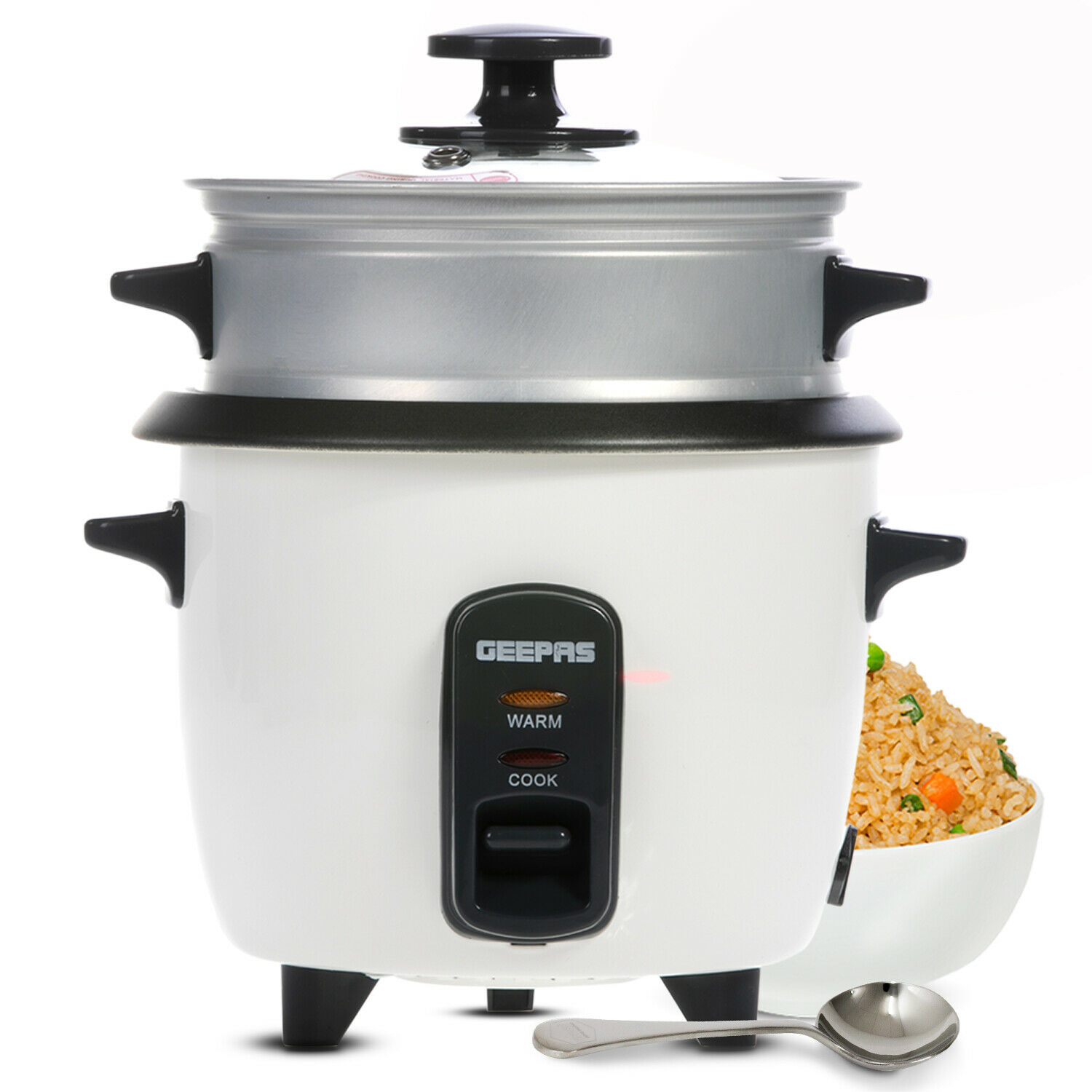 Geepas Rice Cooker Steamer Cooking Pot Non Stick Electric 350W Keep Warm