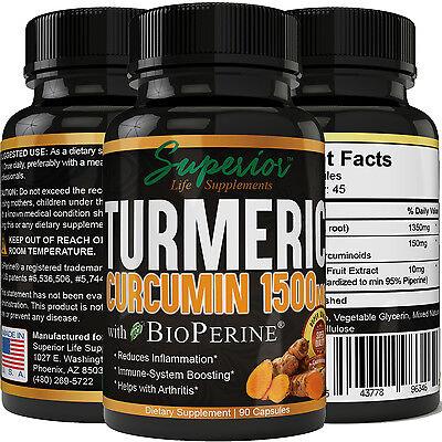 Turmeric Curcumin 1500Mg With Bioperine Black Pepper Extract Superior Absorption