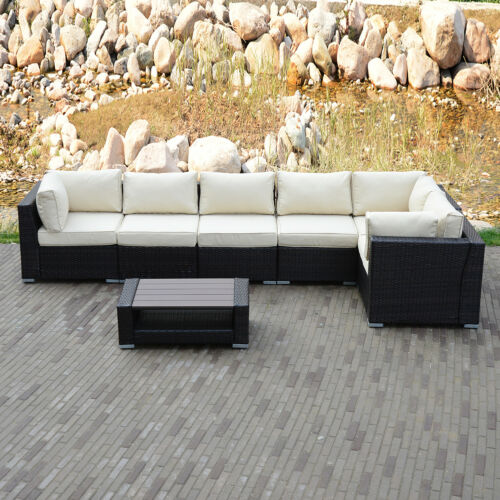 Garden Furniture - 6/7PCS Outdoor Patio Rattan PE Wicker Sofa Set Garden Furniture w/ Cushioned NEW
