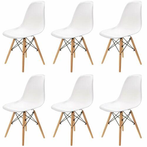 6er Set Kunststoff Stühle Holzbeinen Esszimmerstühle Bürostuhl Weiß