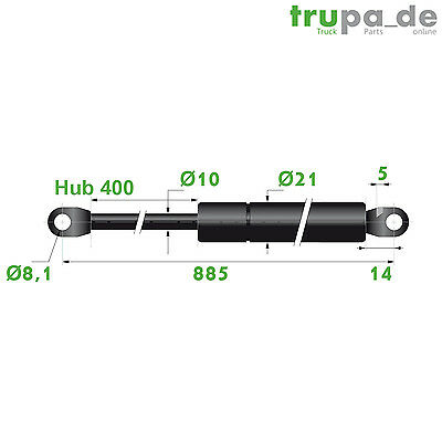 Gasdruckfeder Lift Haubenheber 400N / Hub=400, Länge 885, Ø 10/21 mm -Made in EU
