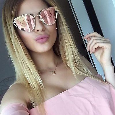 Rose Pink Large Oversized Sunglasses Cat Eye Flat Mirror Lens Women Eyewear (Rose Mirrored Sunglasses)