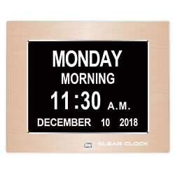 Clear Clock Digital Memory Loss Calendar Day Clock With Alarm Dementia (Gold)