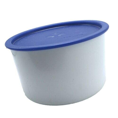 Tupperware One Touch Canister Coffee Filter Storage # 2709A White Blue Seal Lid