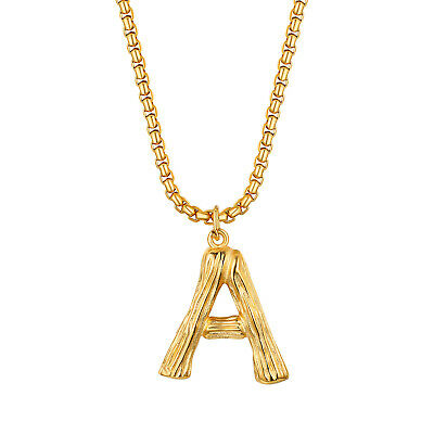 Women's Men's Gold Tone A-Z Alphabet Initial Necklace Letter Pendant Chain Gift